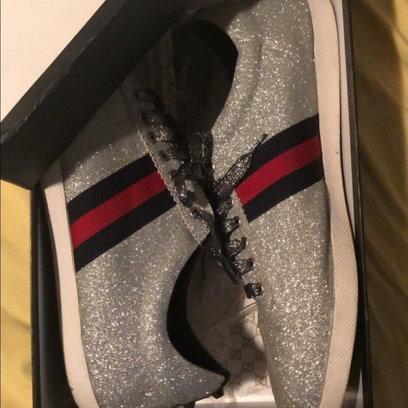 18aa6b48b Gucci Shoes | Silver Sparkle Low Top Sneakers | Poshmark